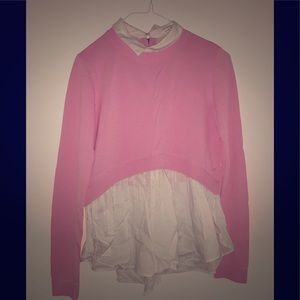 BRAND NEW  Pink sweater with white collar